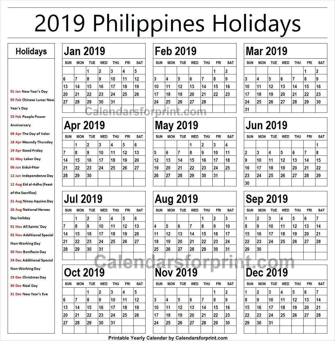 2019 Calendar With Holidays Philippines Printable | National in 2020 Calendar Qatar Printable