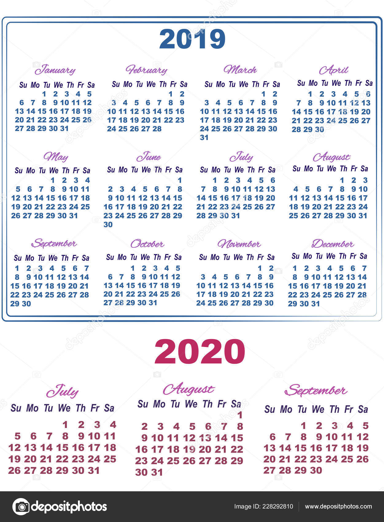 2019 Calendar With July, August And September Of 2020 with regard to July Of 2020