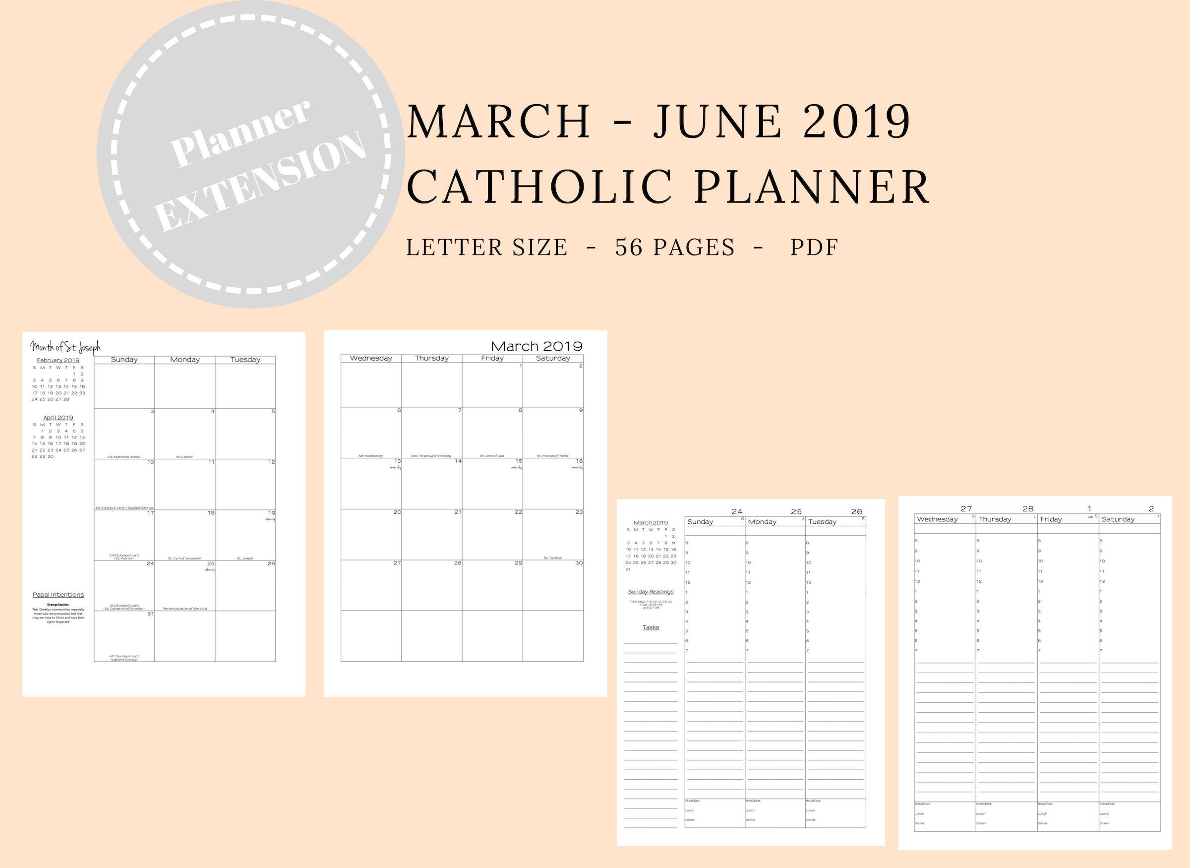 2019 Catholic Planner *extension* Weekly Printable: Daily Planner  Weekly  Calendar  Liturgical Planner  Printable Catholic Planner within Catholic Extension Calendar