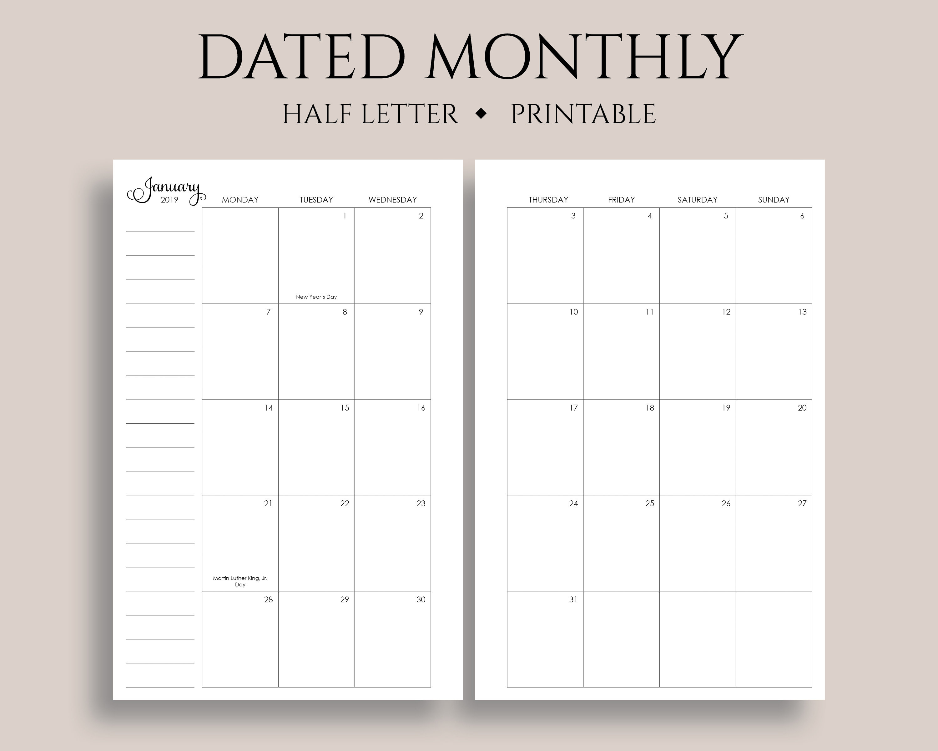 """2019 Dated Monthly Calendar Printable Planner Inserts, Monday Start, Mo2P,  U.s. Holidays ~ Half Letter  5.5"""" X 8.5"""" Pdf Download pertaining to Printable Calendar 5.5 X 8.5"""