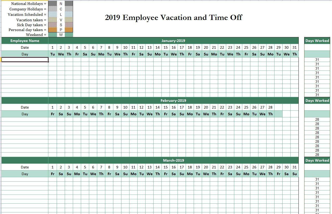 2019 Employee Attendance Tracking Calendar | Attendance throughout Employee Vacation Tracking Calendar