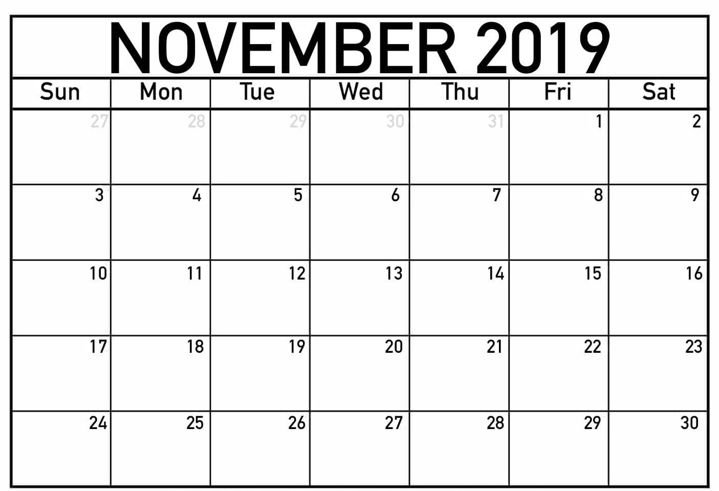 2019 Fillable November Calendar Printable Editable Template for Blank Fillable Calendar