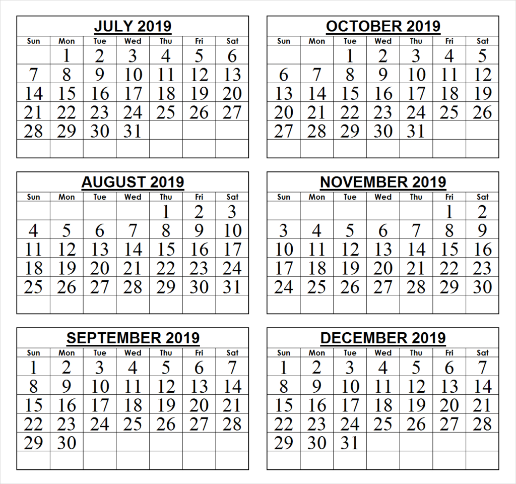 2019 Last 6 Months Calendar | 2019 Calendar, June 2019 intended for Free Printable 6 Month Calendar