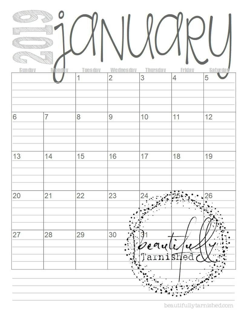 2019 Lined Monthly Calendarsbeautifully Tarnished in Printable Lined Monthly Calendar