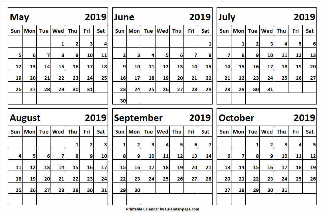 2019 May October Blank Calendar Template | Printable inside Blank 6 Month Calendar