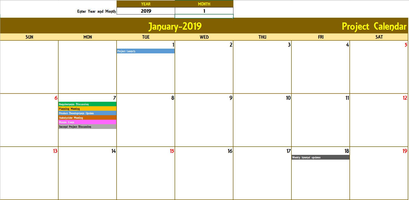 2019 Monthly Calendar Excel Elegant Excel Calendar Template intended for Calendar Excel Template