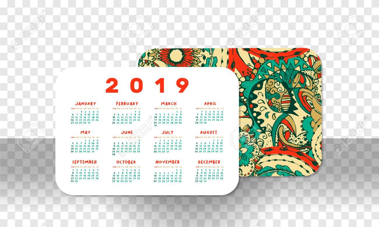2019 Pocket Calendar Basic Grid. Vector Horizontal Orientation intended for Free Printable Pocket Calendar