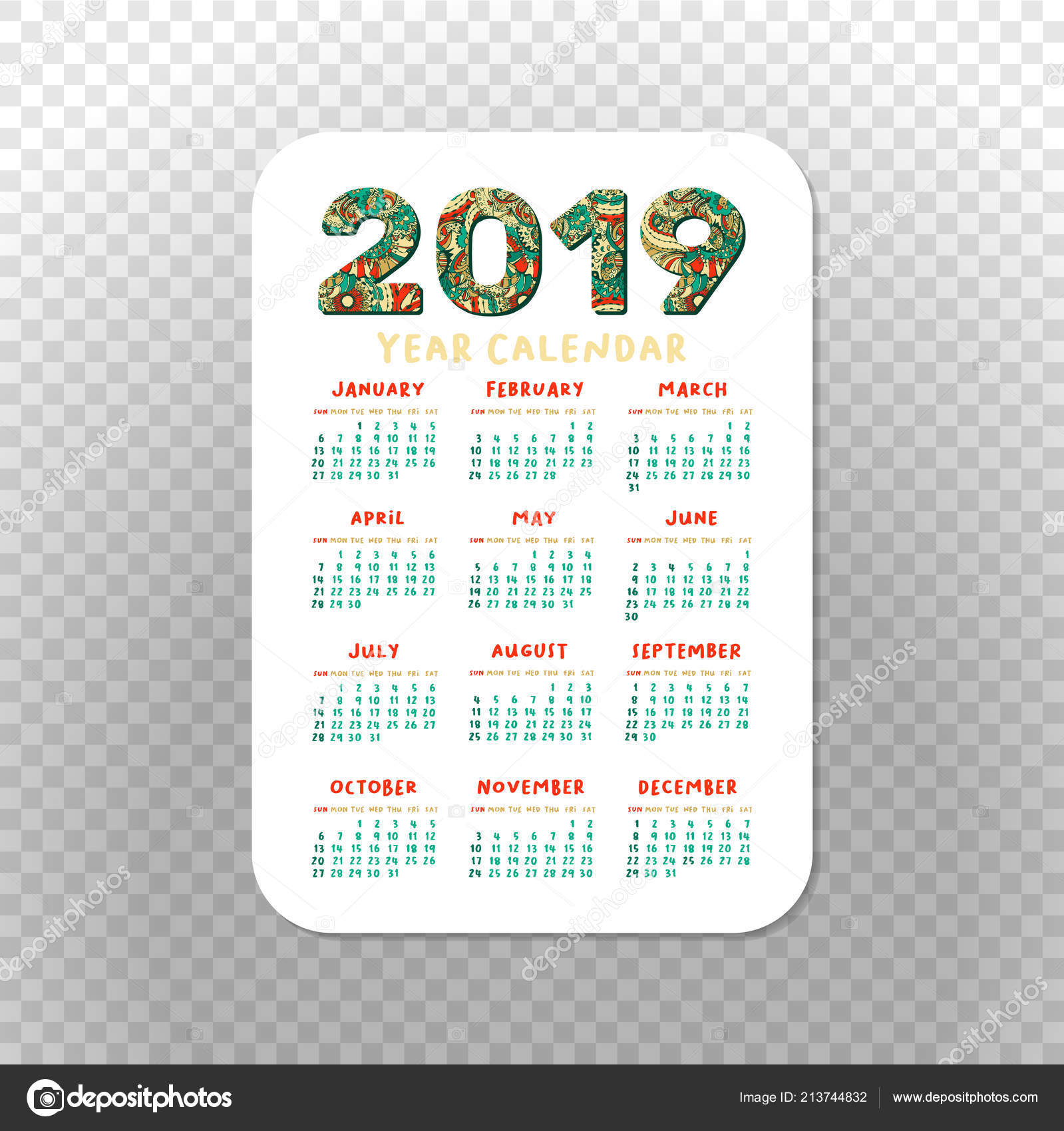 2019 Pocket Calendar Basic Grid Vector Vertical Orientation intended for Printable Pocket Calendar