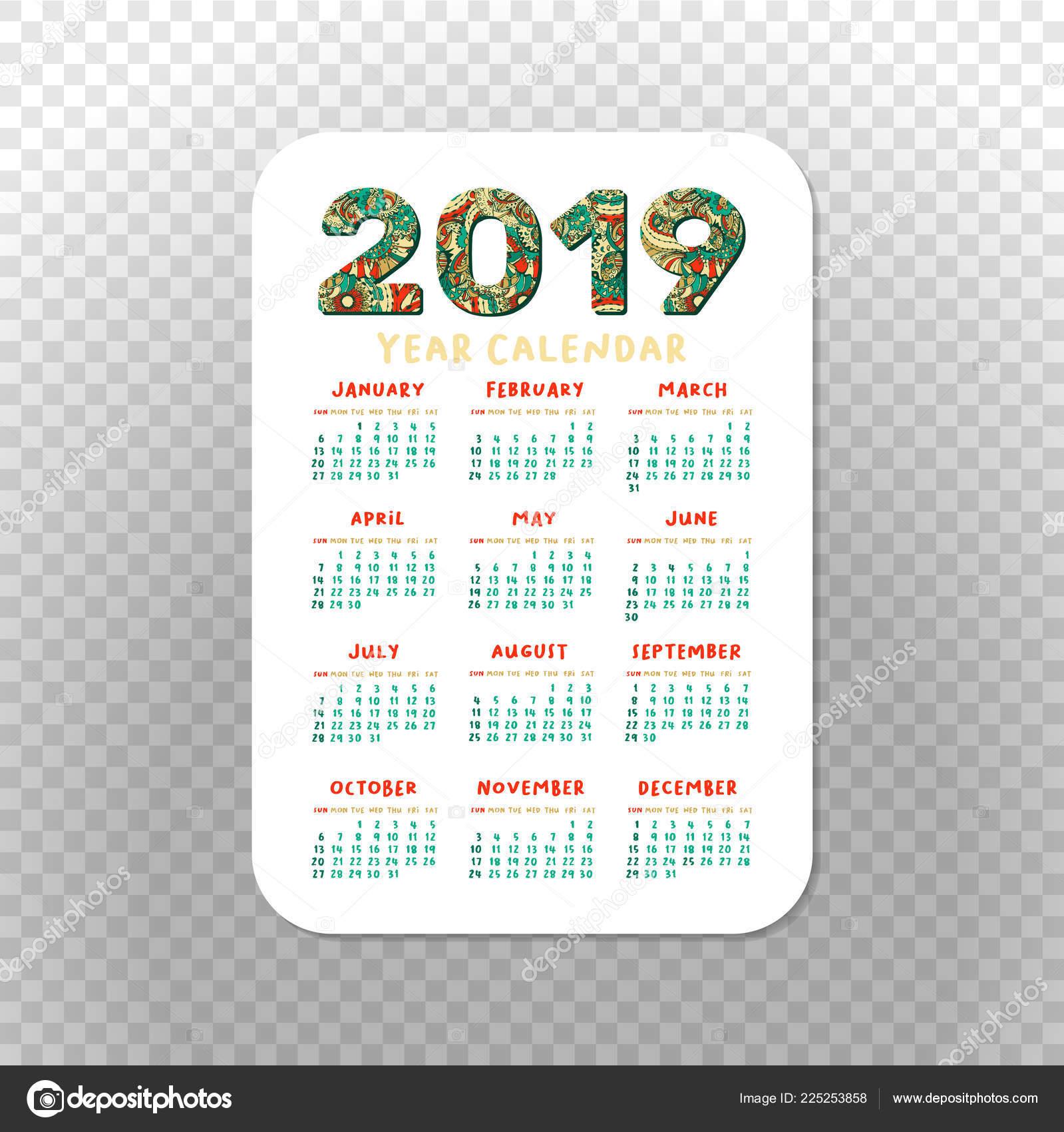 2019 Pocket Calendar Basic Grid Vector Vertical Orientation with Pocket Size Calendar Printable
