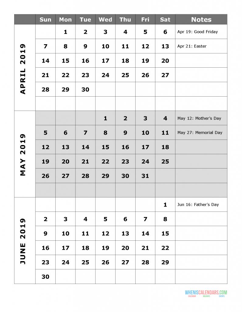 2019 Quarterly Calendar Printable Q.2: April May June | Free inside 2020 Quarterly Calendar Template Excel