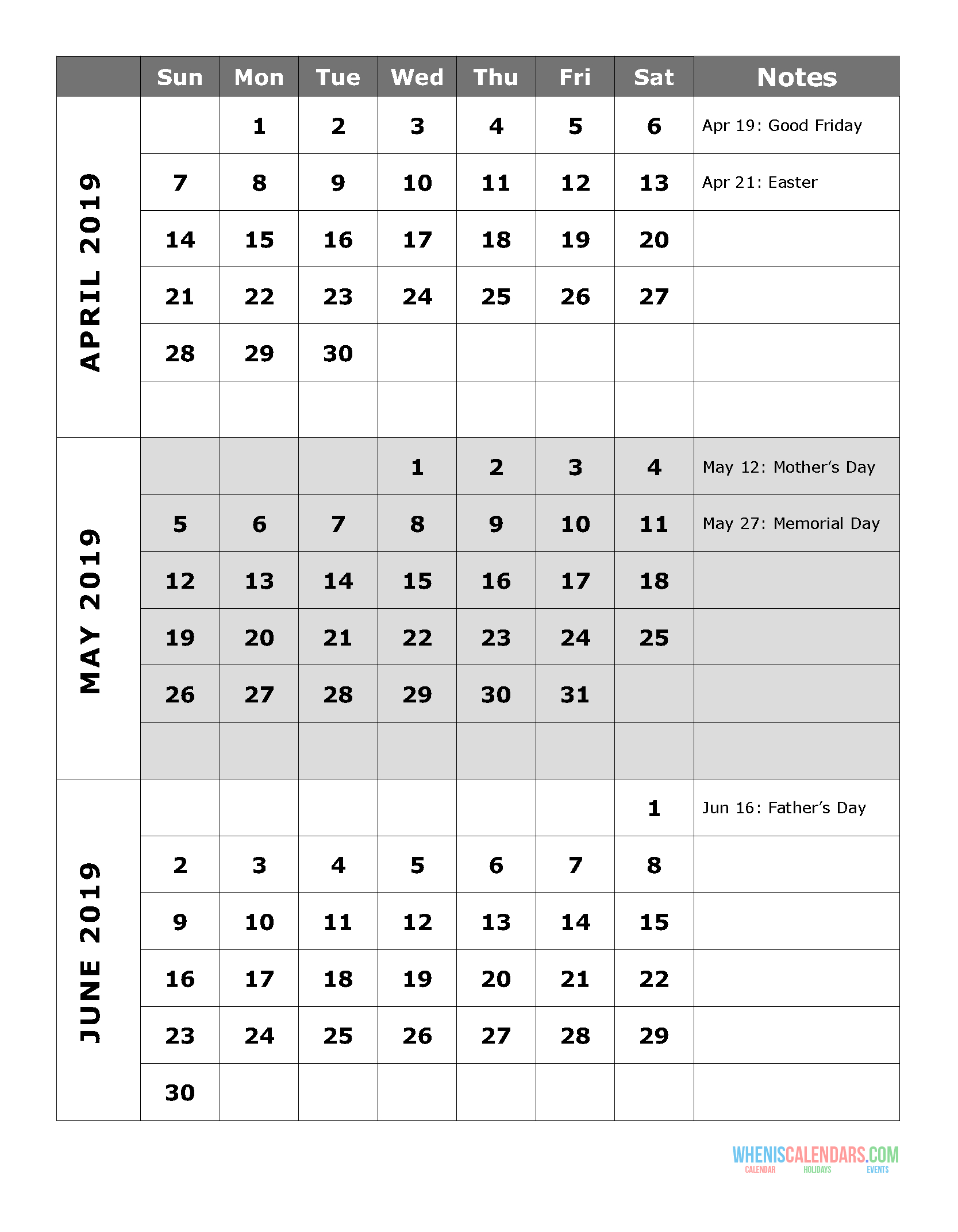 2019 Quarterly Calendar Printable Q.2: April May June | Free with Quarterly Calendar Template Excel