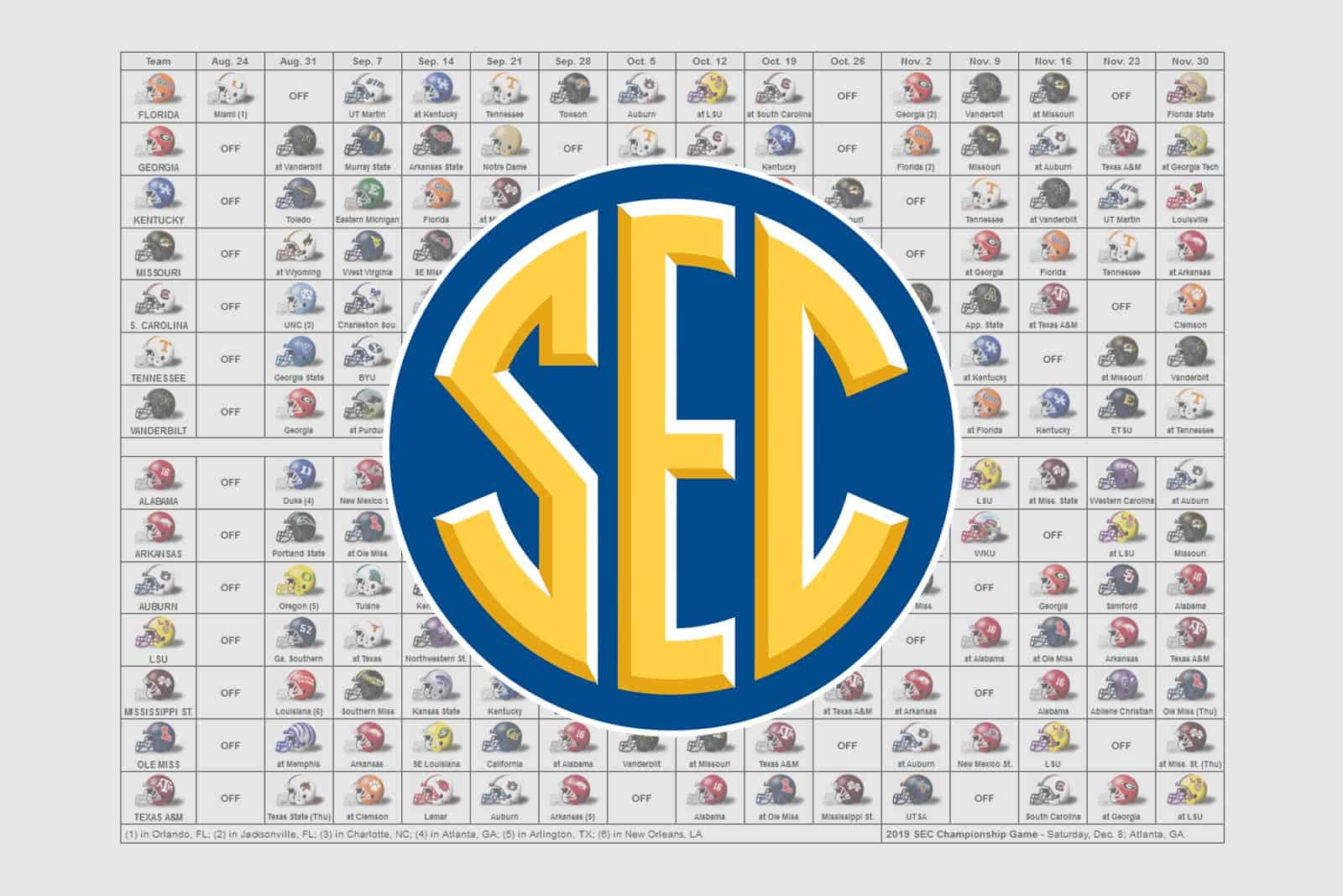 2019 Sec Football Helmet Schedule within Uga 2020 Calendar