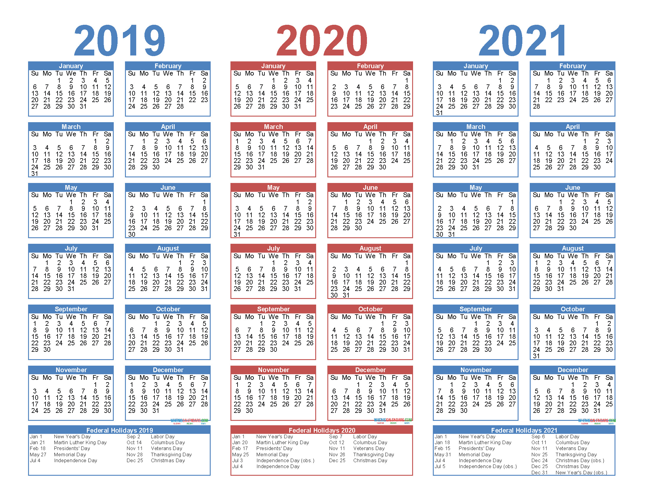 2019 To 2021 3 Year Calendar Printable Free Pdf, Word, Image in 3 Year Calendar Printable
