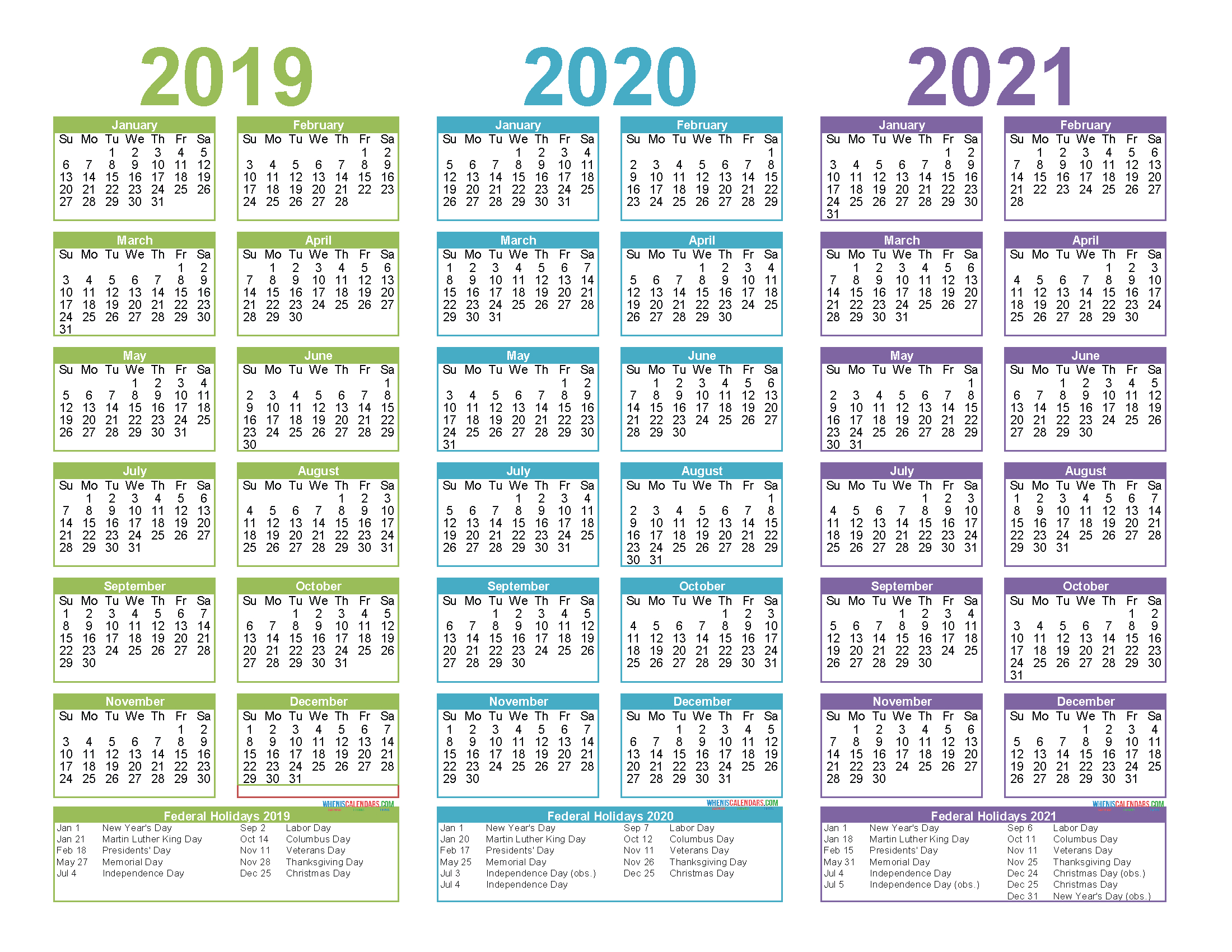 2019 To 2021 3 Year Calendar Printable Free Pdf, Word, Image within 3 Year Calendar 2020 To 2021 Printable