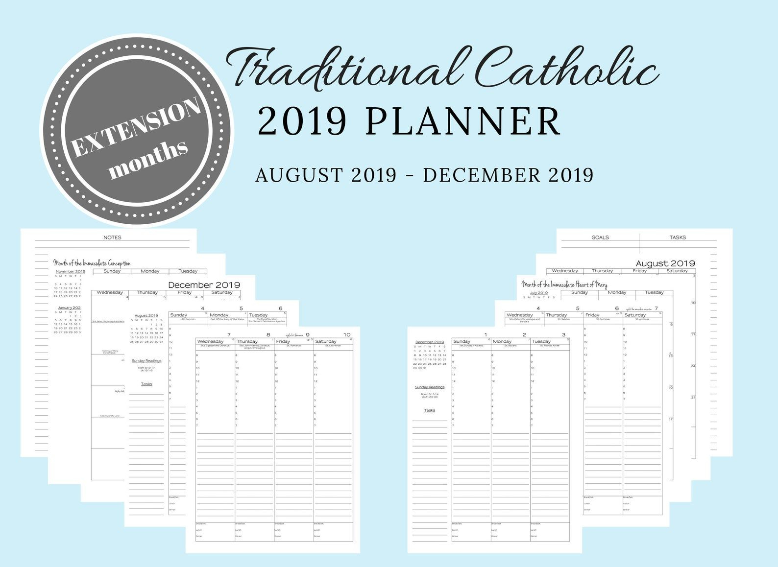 2019 Traditional Latin Catholic Planner Printable Extension in Catholic Extension Calendar