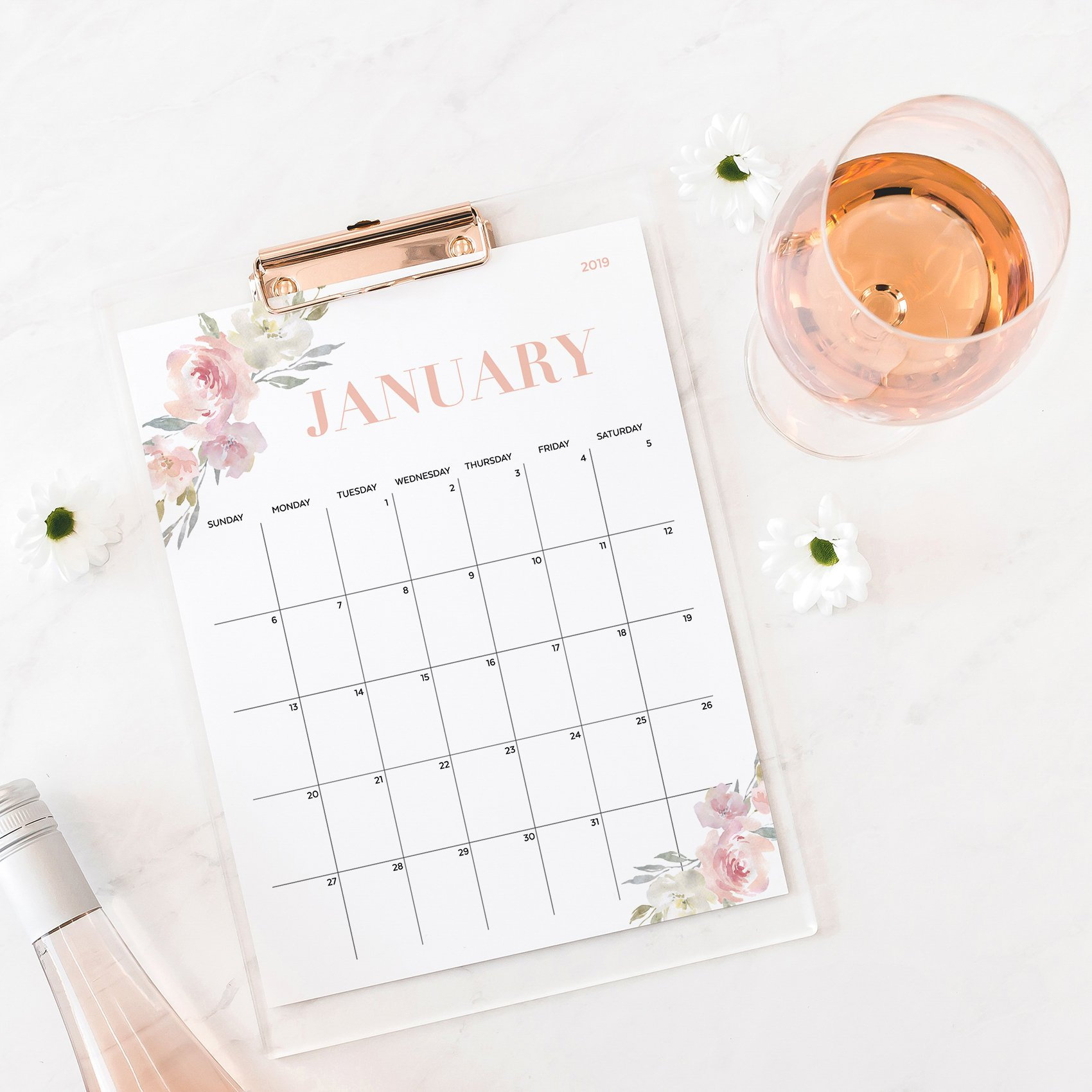 2019 Wall Calendar Printable, 2019 Printable Calendar 2019 Printable,  Floral 2019 Monthly Calendar Printable 2019, 2019 Desk Calendar with Cvs Desk Calendar