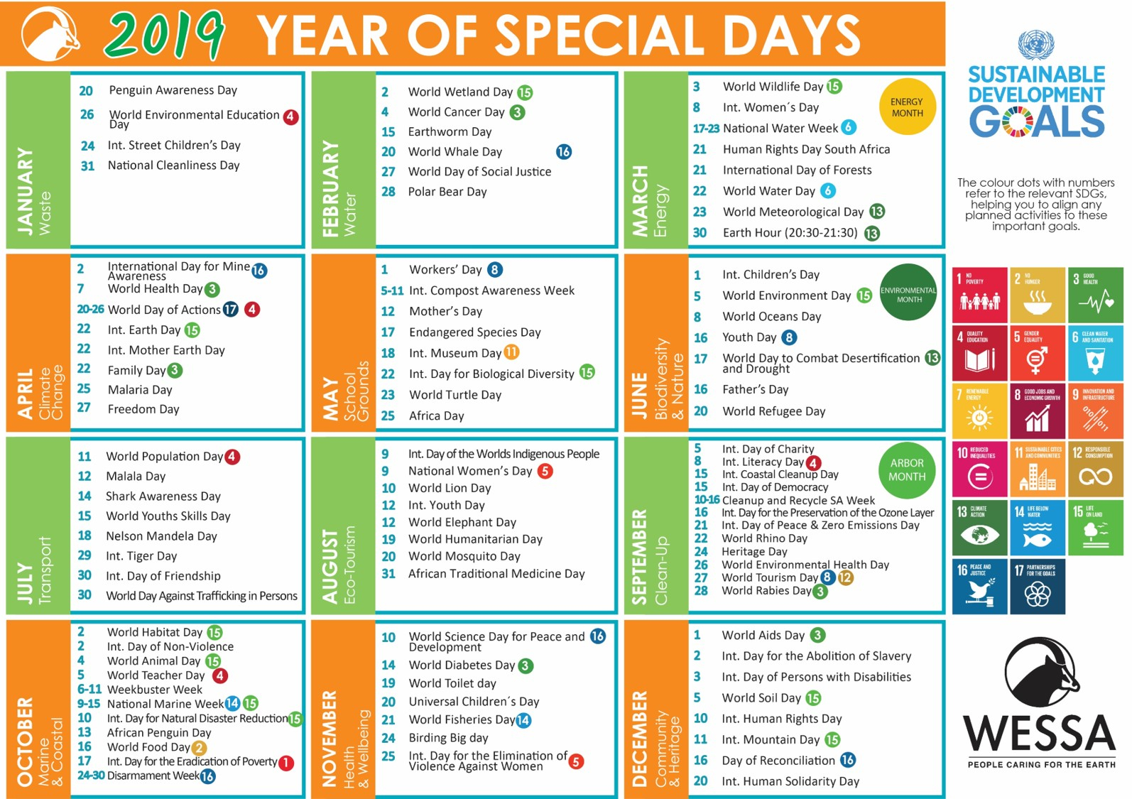 2019 Wessa Special Day Calendar – Wessa regarding Eastern Cape School Calendar