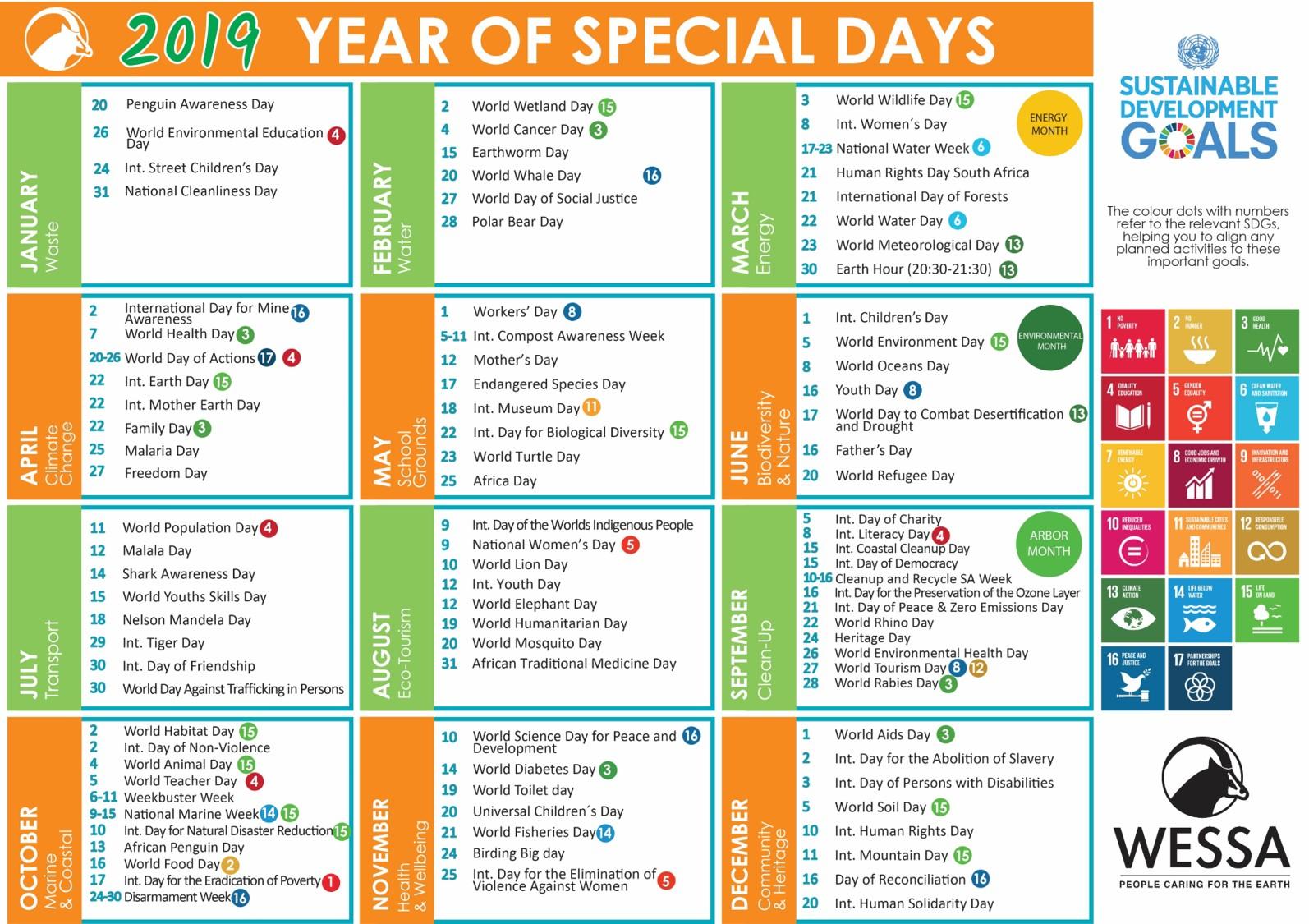 2019 Wessa Special Day Calendar – Wessa regarding Eastern Cape School Calendar