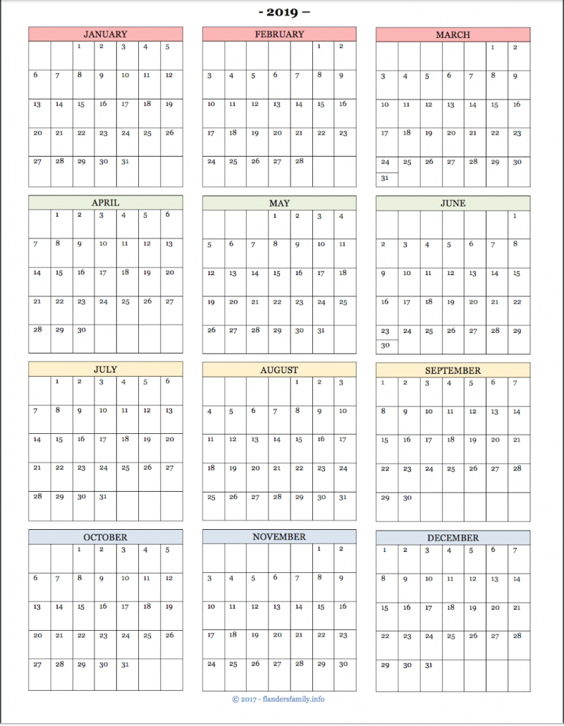 2019 Yearata Glance Calendars And Habit Trackers pertaining to Year At A Glance Calendar Printable