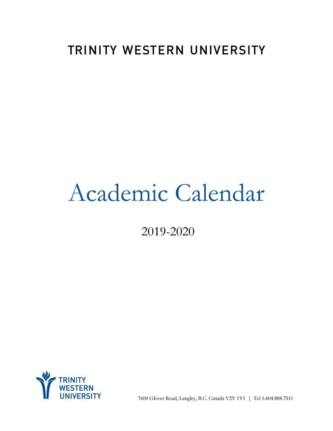 201920 Academic Calendar By Twu  Issuu with regard to 2020 And 2020 Pei School Calendar