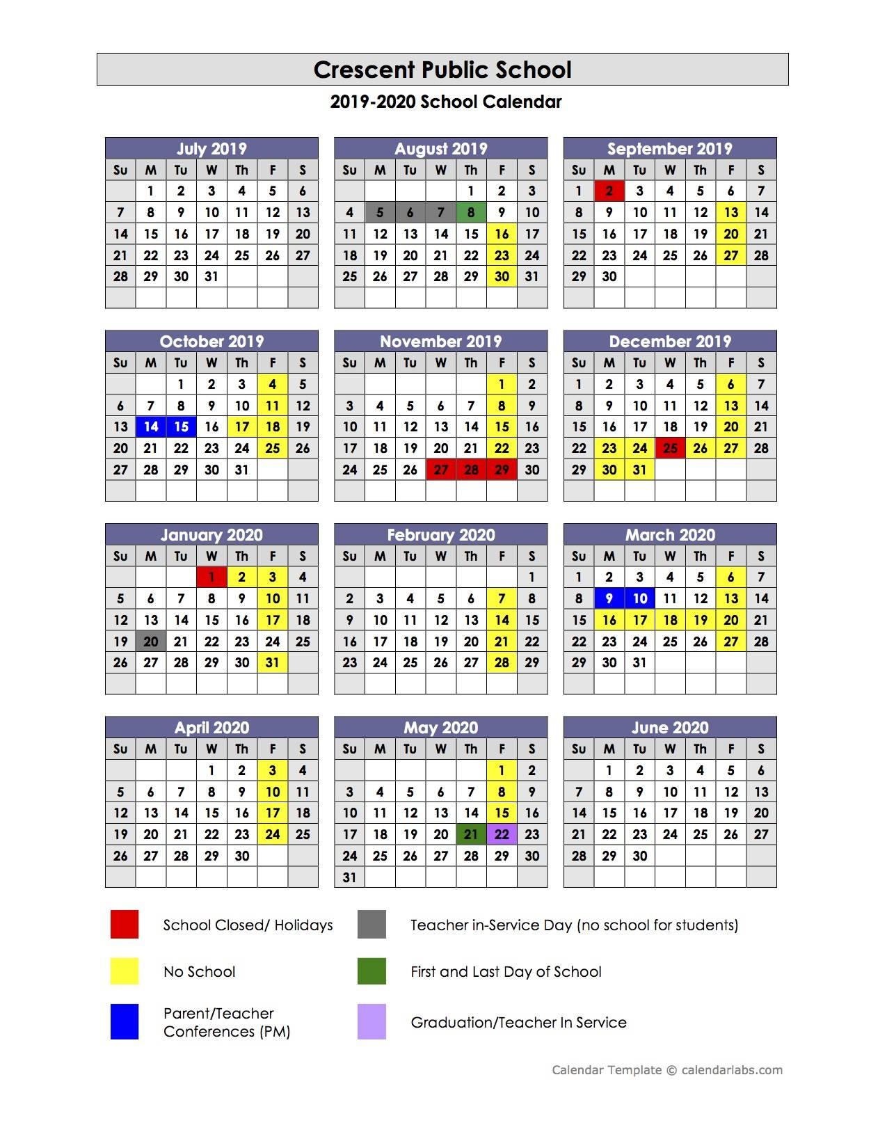 201920 District Calendar intended for Nicoma Park Middle School Calendar