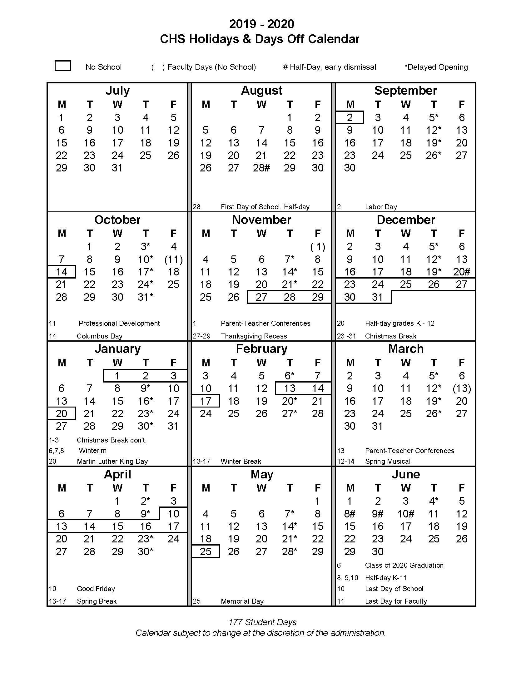 201920 School Year  Christian Heritage School with regard to Trumbull School Calendar