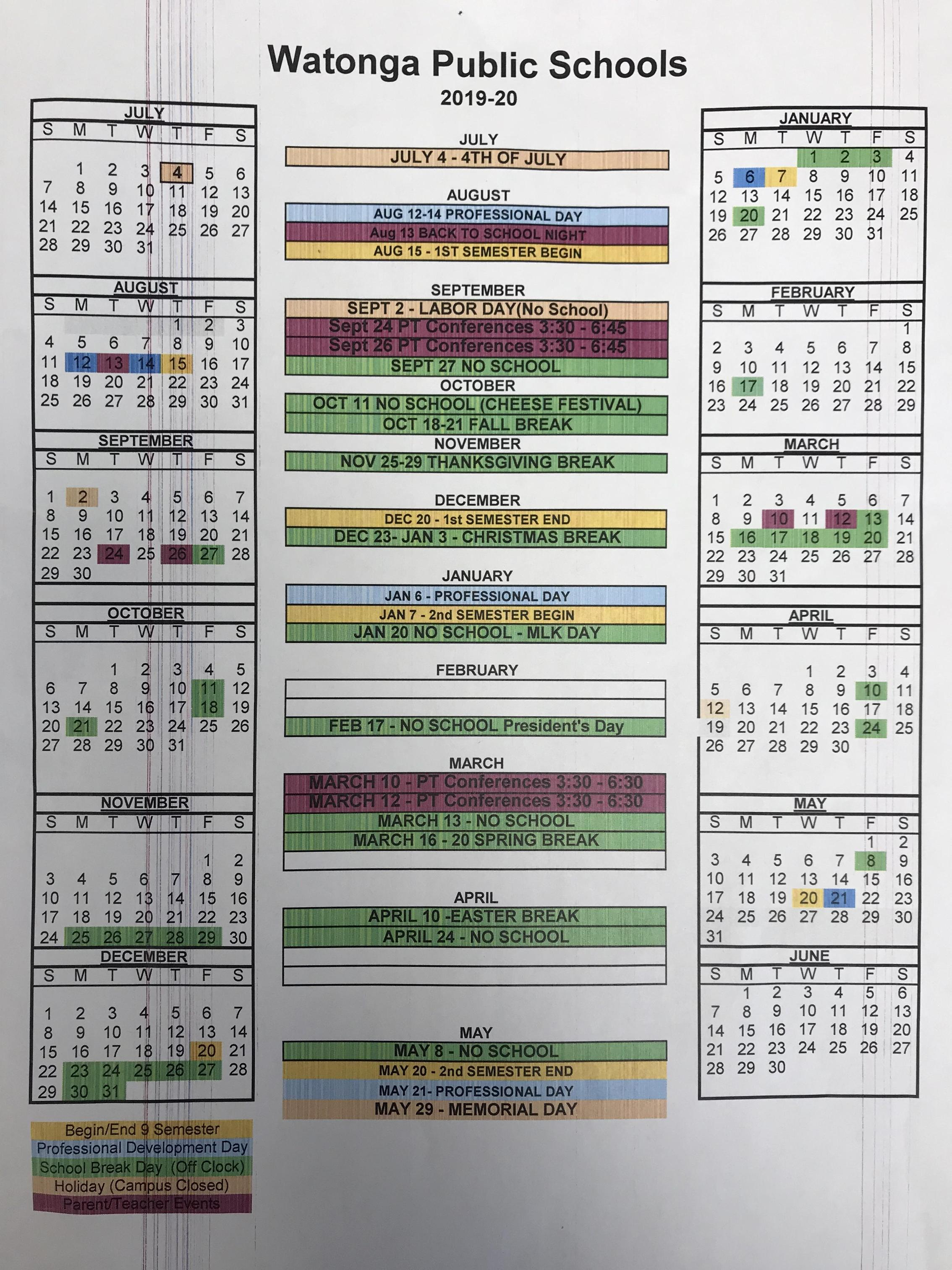 20192020 Academic Calendar with regard to Nicoma Park Middle School Calendar