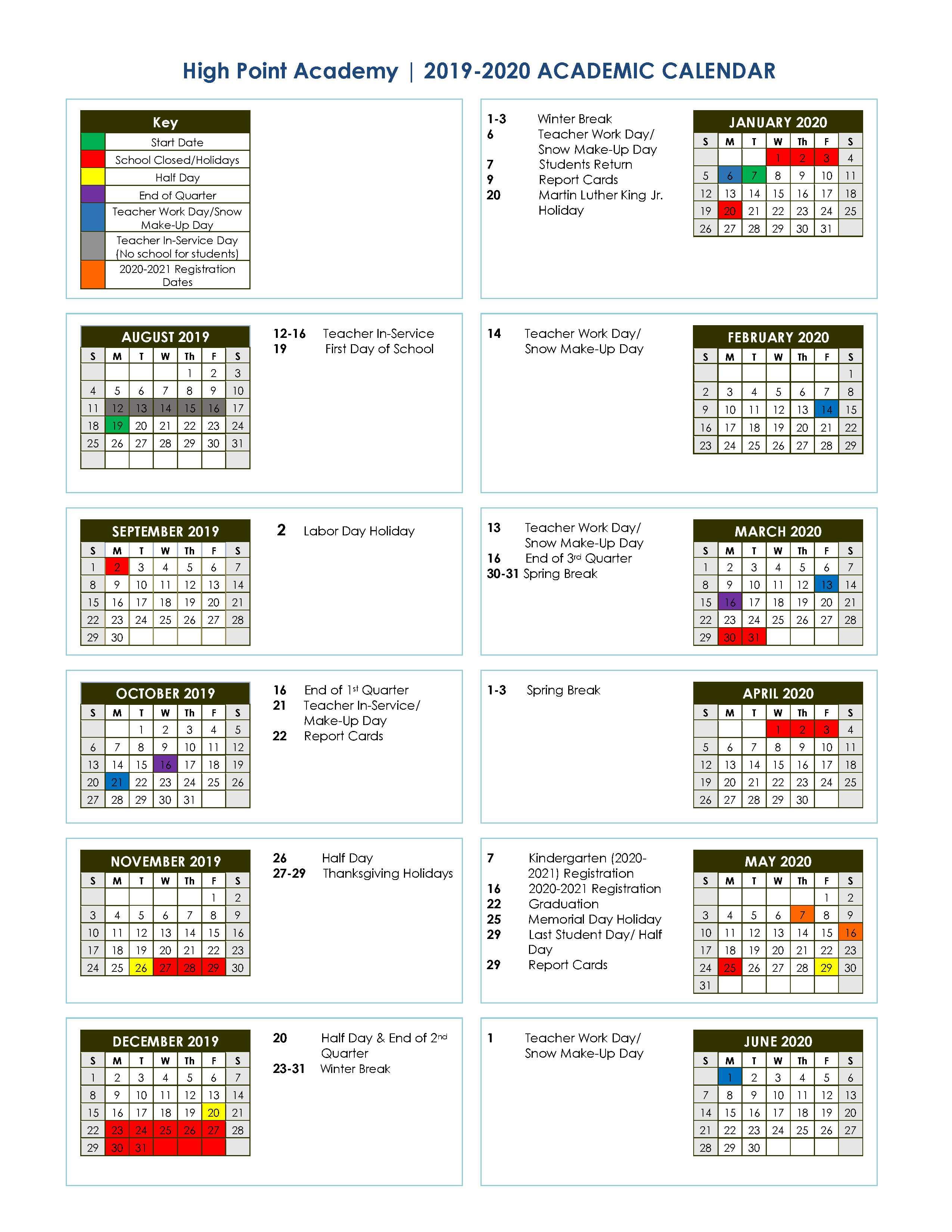 20192020 Academic School Calendar | High Point Academy within Tl Hanna School Calendar