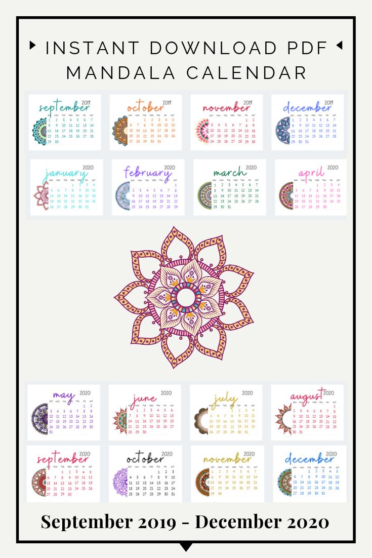20192020 Calendar Digital Download Pdf | Mandala Monthly pertaining to September Thru December 2020 Calendar