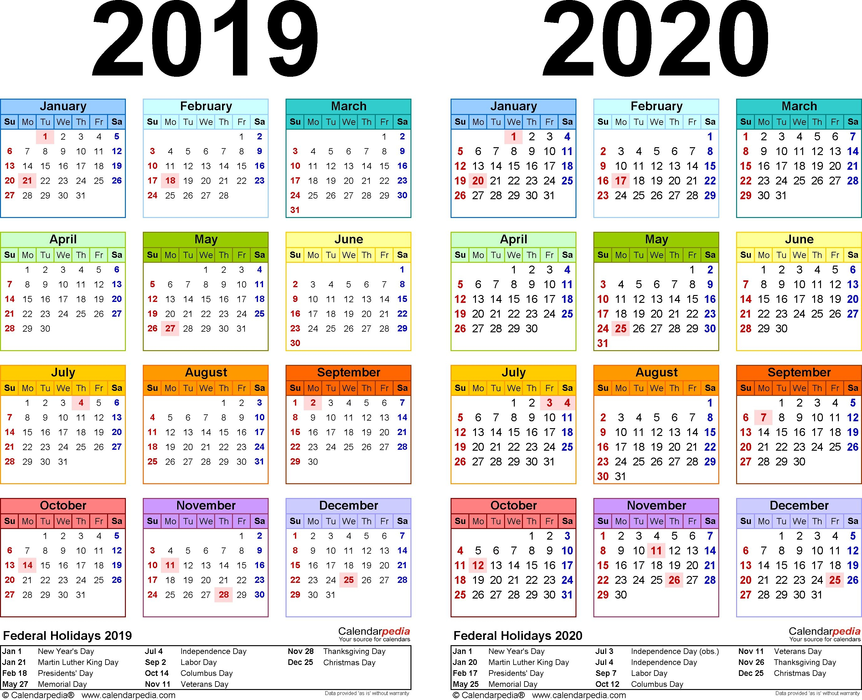 20192020 Calendar  Free Printable Twoyear Excel Calendars with regard to Kalendar Excel 2020
