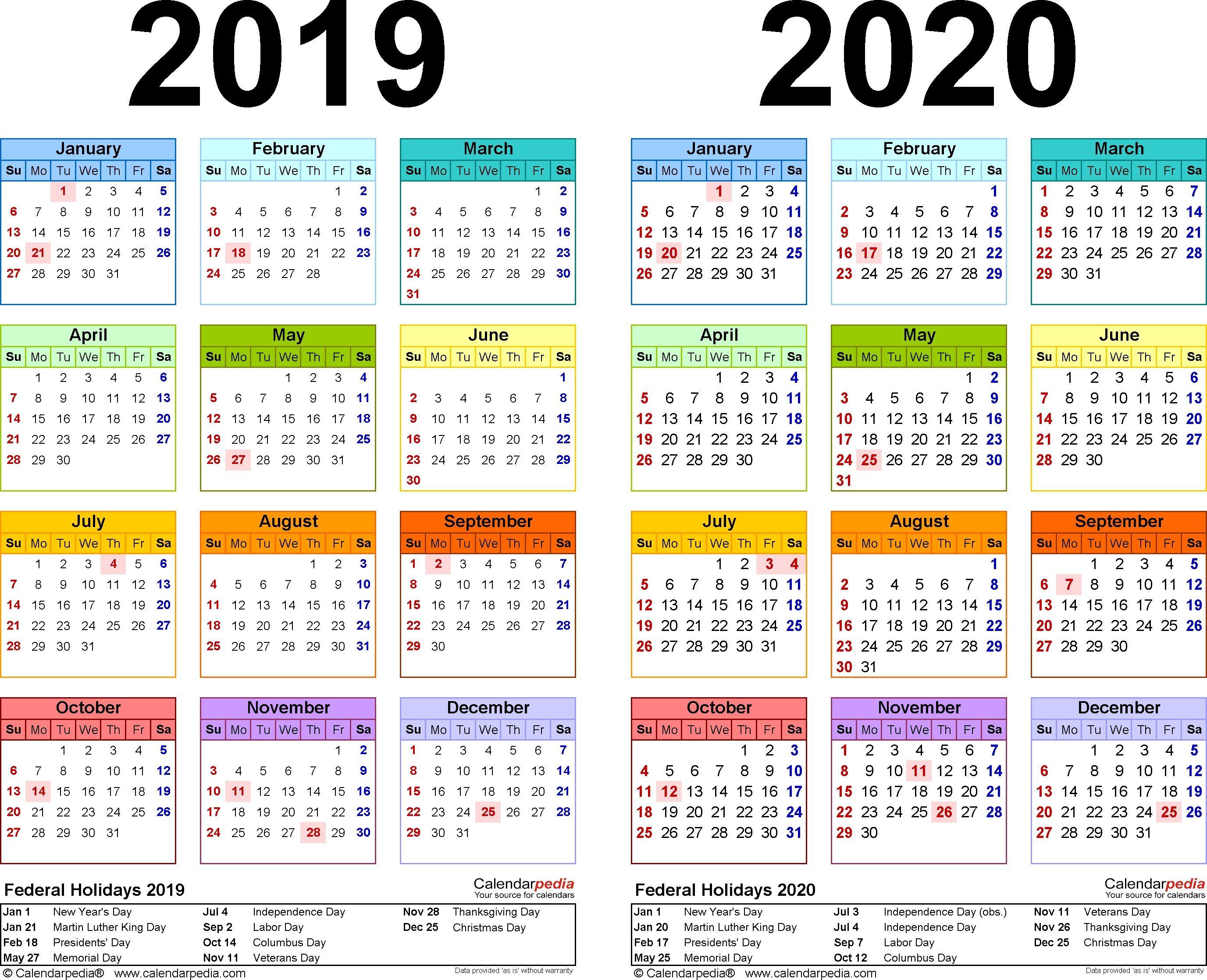 20192020 Calendar  Free Printable Twoyear Pdf Calendars in Julian Calendar Pdf