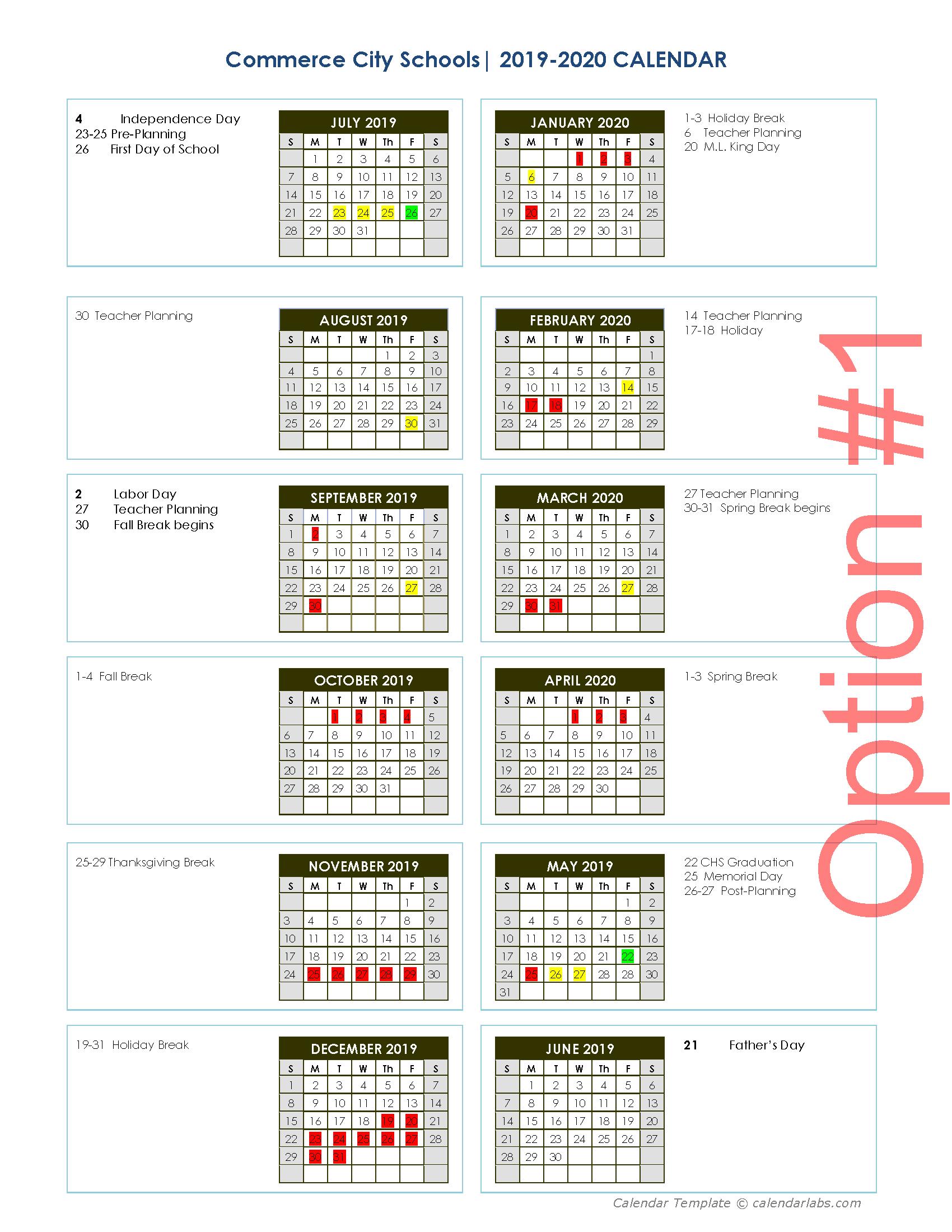 20192020 Calendar Survey  Commerce City Schools for Tl Hanna School Calendar