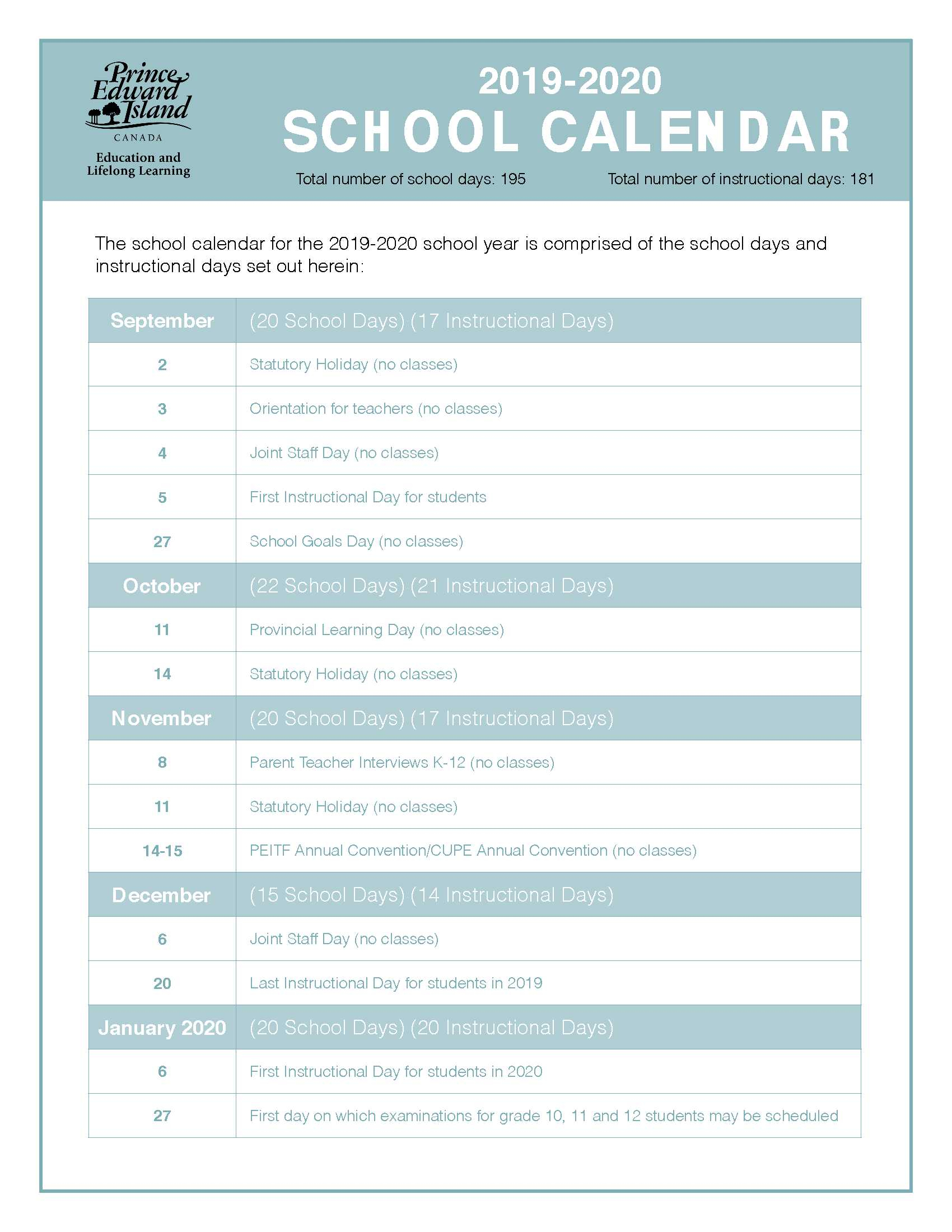20192020 School Calendar | East Wiltshire Intermediate School with regard to 2020 And 2020 Pei School Calendar