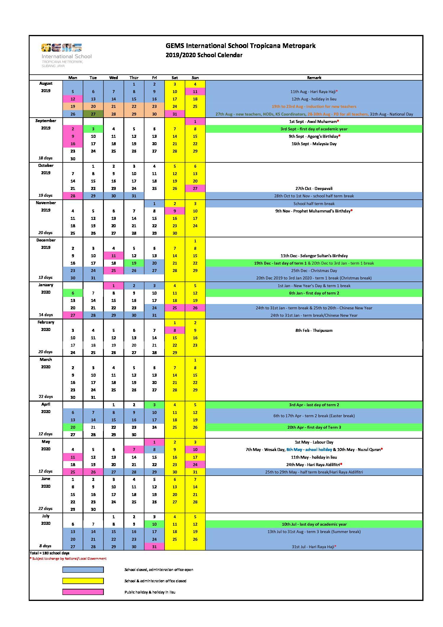 20192020 School Calendar  Gems International School Metropark inside 2020 And 2020 Pei School Calendar