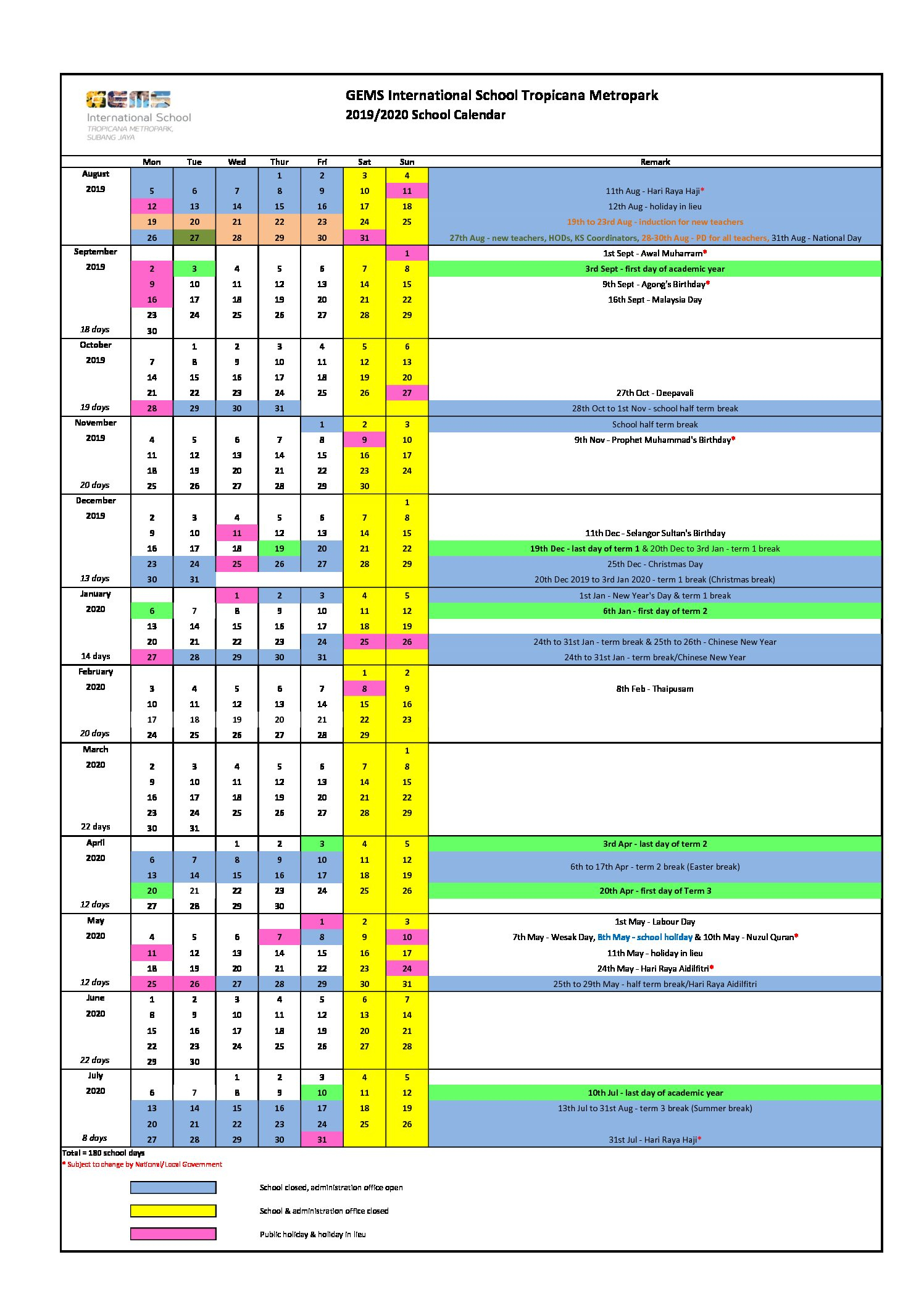 20192020 School Calendar  Gems International School Metropark intended for Pei School Calendar 2020