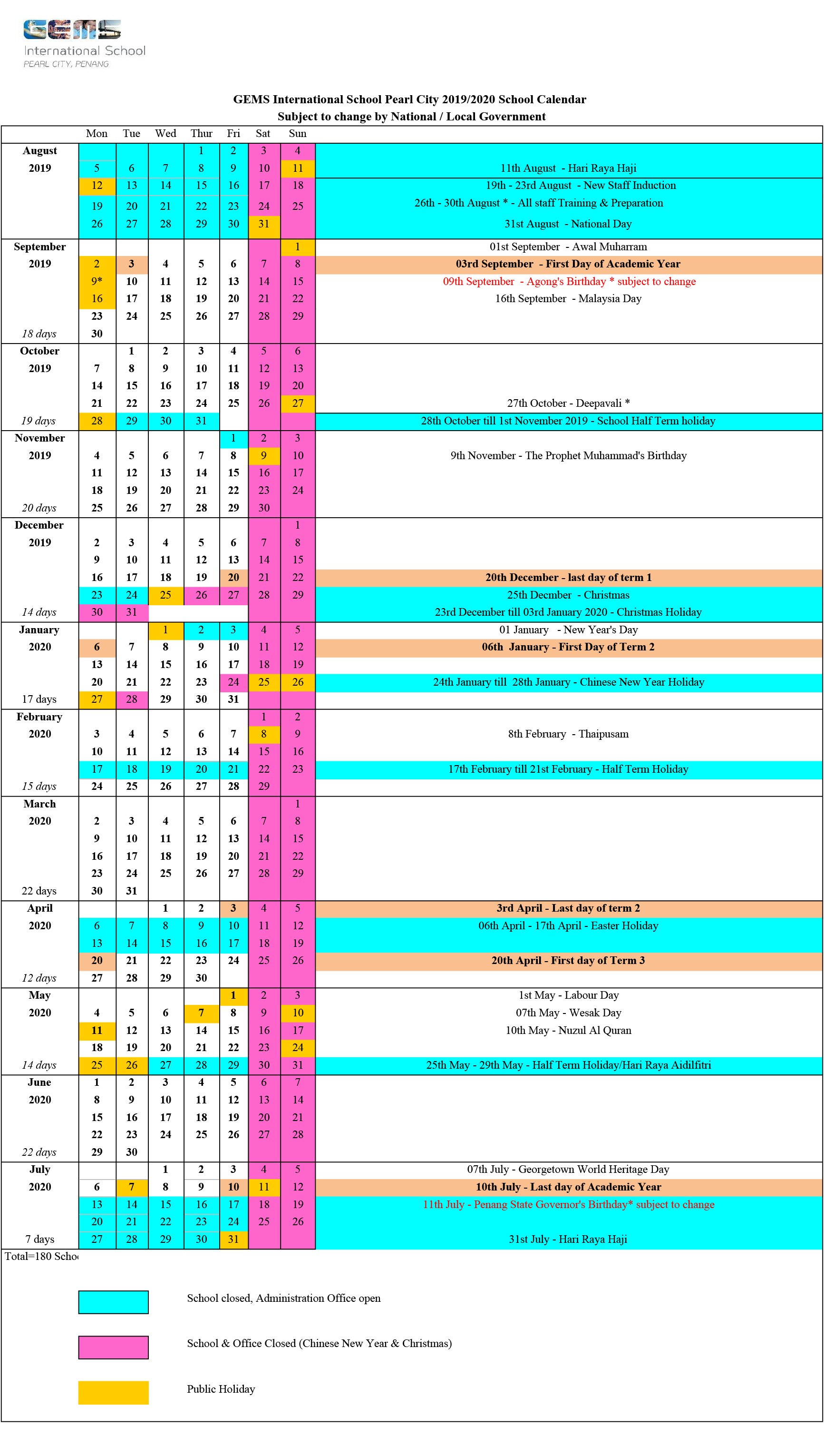 20192020 School Calendar  Gems International School throughout Gems World Academy Academic Calendar