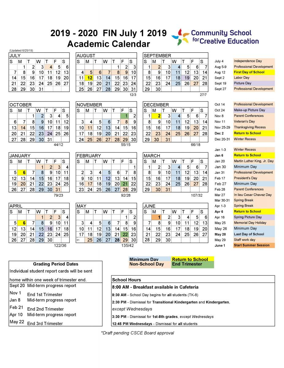 20192020 School Year Calendar | Community School For for Berkeley Academic Calendar 2020