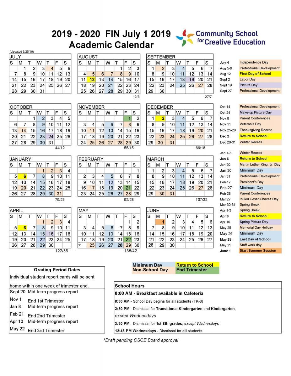 20192020 School Year Calendar | Community School For pertaining to Berkeley Law Academic Calendar