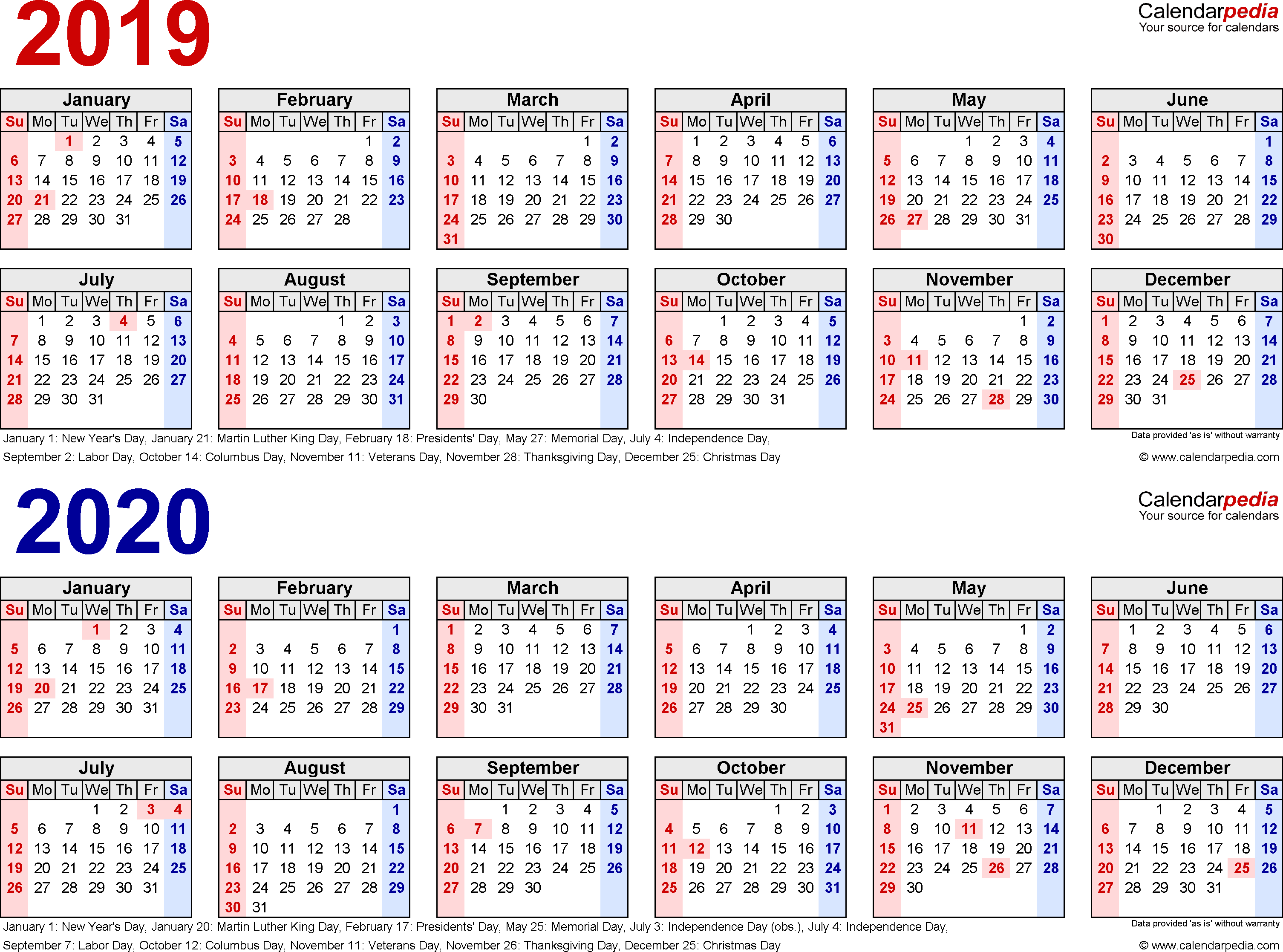 20192020 Two Year Calendar  Free Printable Pdf Templates throughout Year Long Calendar Printable