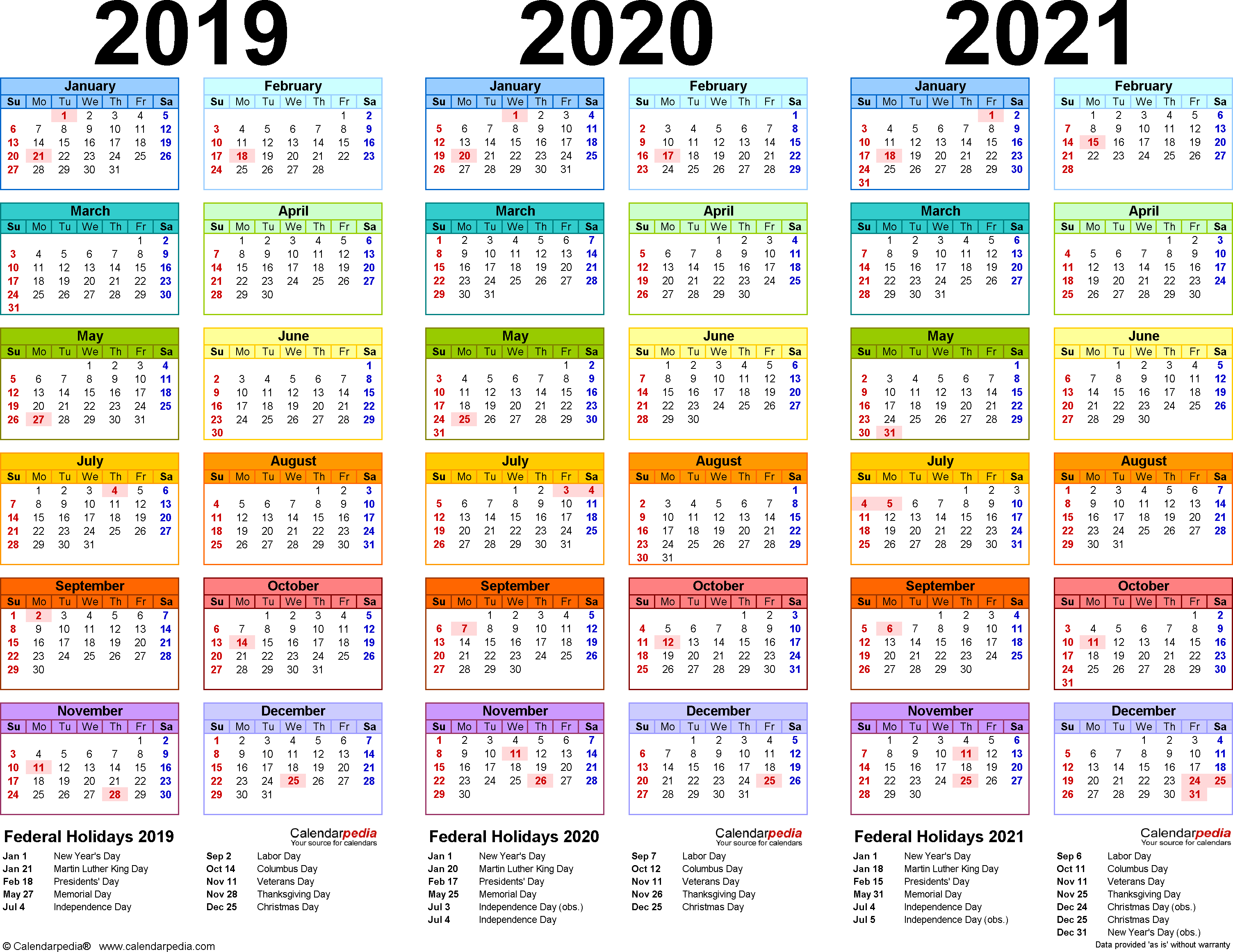 20192021 Three Year Calendar  Free Printable Pdf Templates in Broadcast Calendar 2021