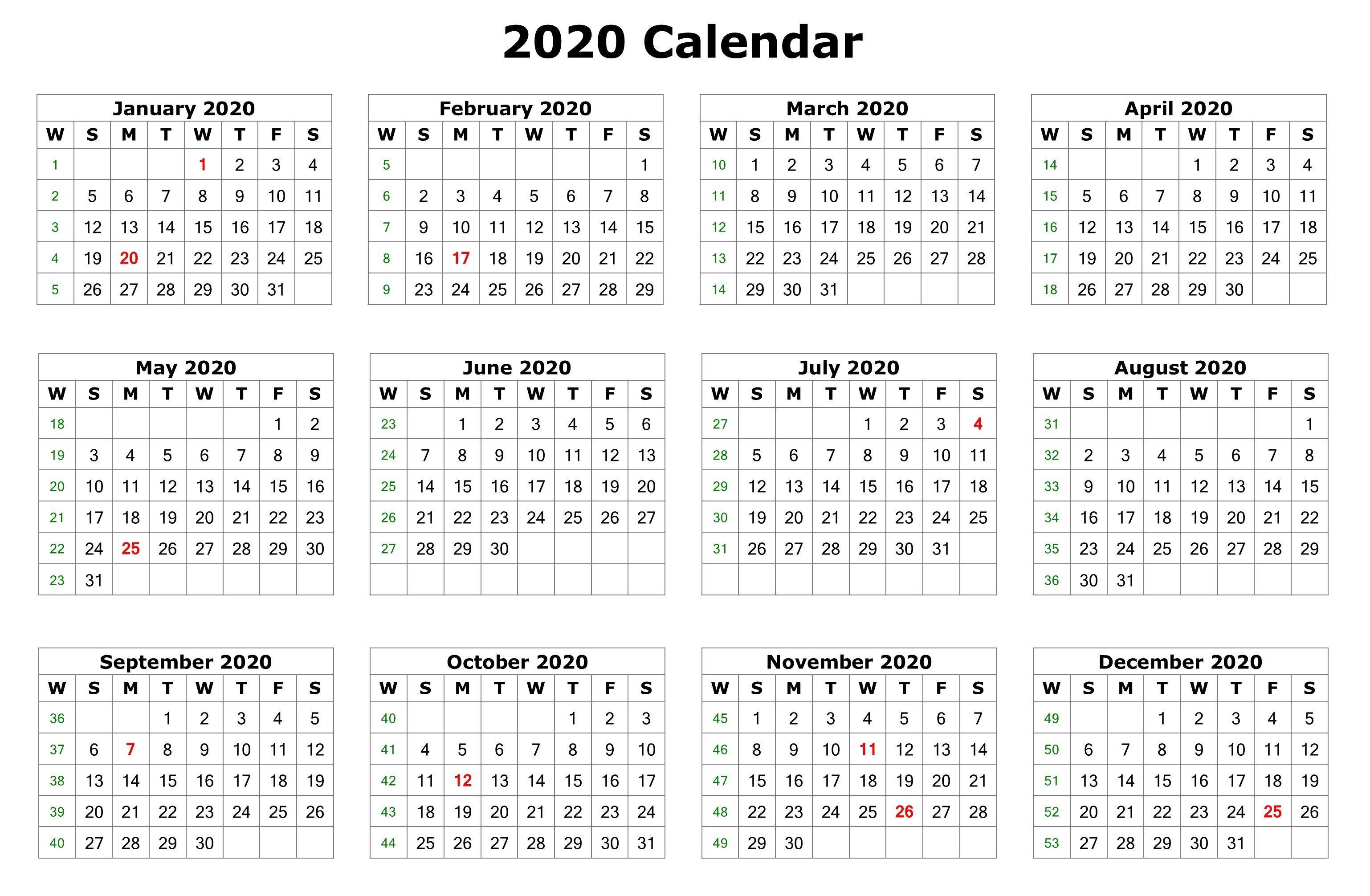 2020 12 Months Calendar Printable | 12 Month Calendar, 2020 with Printable 12 Month 2020 Calendar