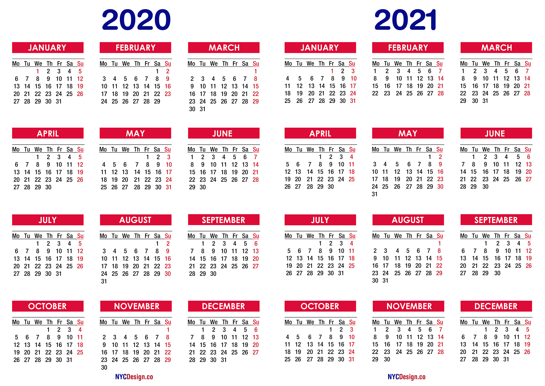 2020 – 2021 Two Year Calendar Printable Free – Nycdesign.co inside 3 Year Calendar Printable