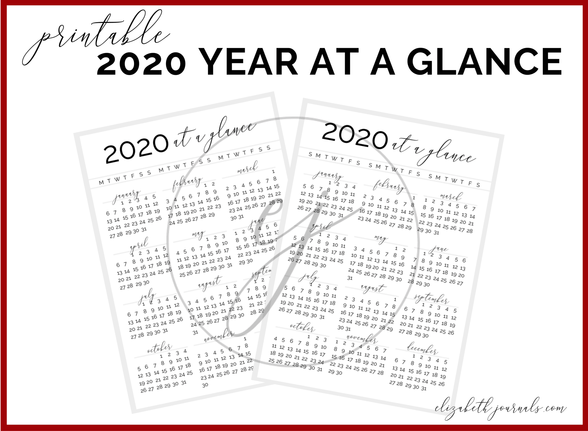 2020 At A Glance Bullet Journal Printable inside 2020 Year At A Glance Printable