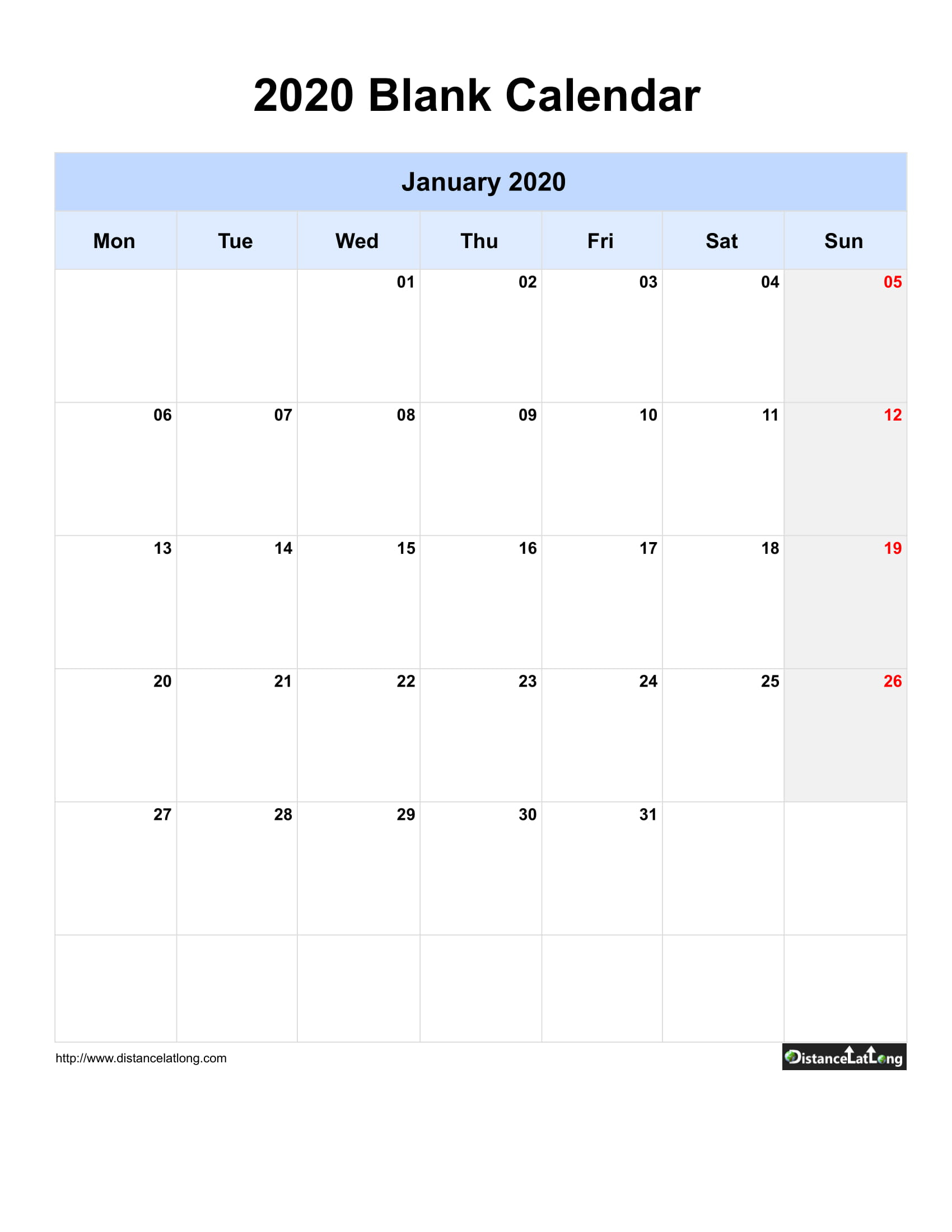 2020 Blank Calendar Blank Portrait Orientation Free for Blank One Month Calendar