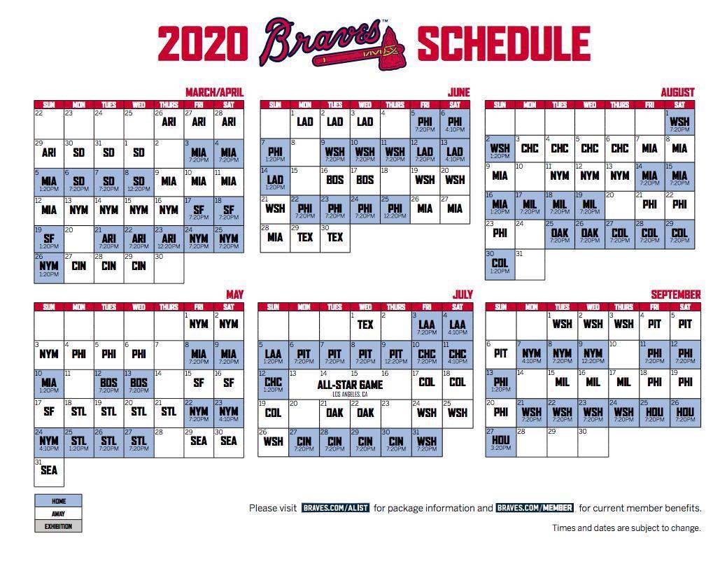 2020 Braves Schedule  Image  Braves  Reddit regarding Atlanta Braves Schedule 2020 Printable