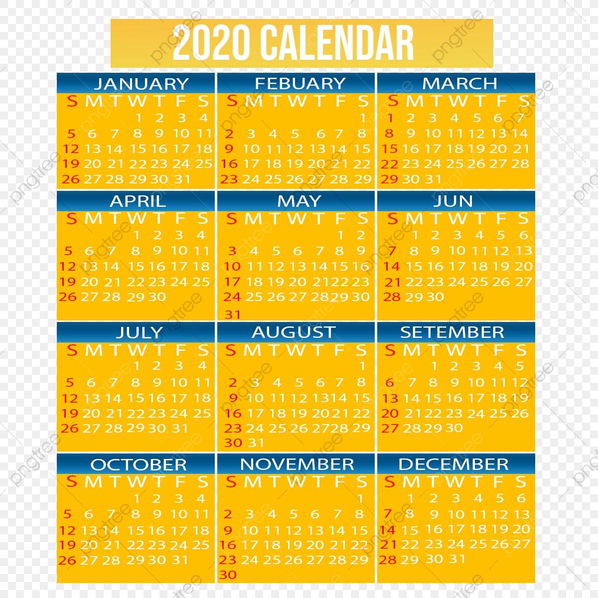 2020 Calendar, 2020, Calendar Png Transparent Clipart Image regarding 2020 Calendar Psd File
