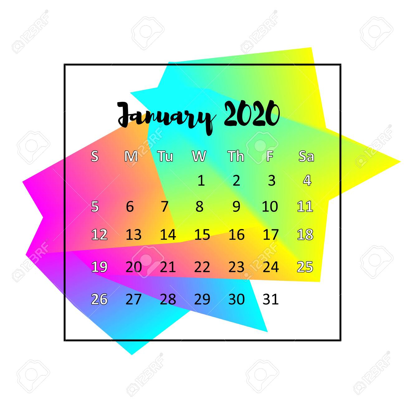 2020 Calendar Design Abstract Concept. January 2020. Business.. for 123 Calendar January 2020