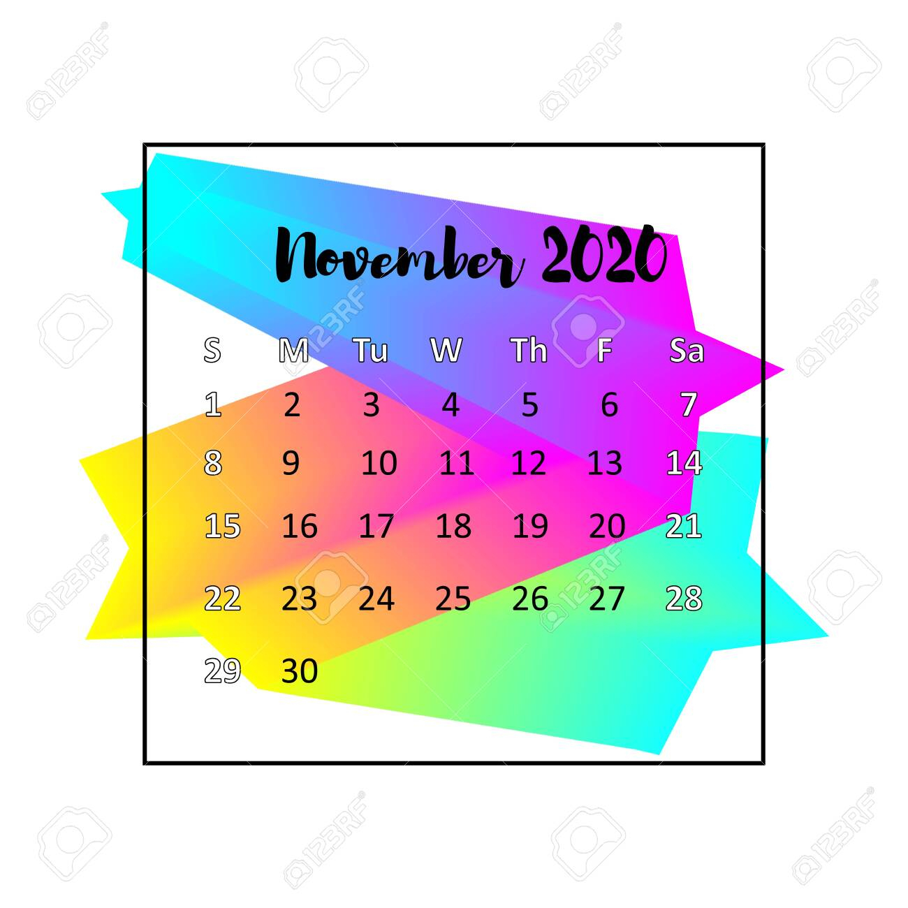 2020 Calendar Design Abstract Concept. November 2020. Business.. inside November 2020 Clipart