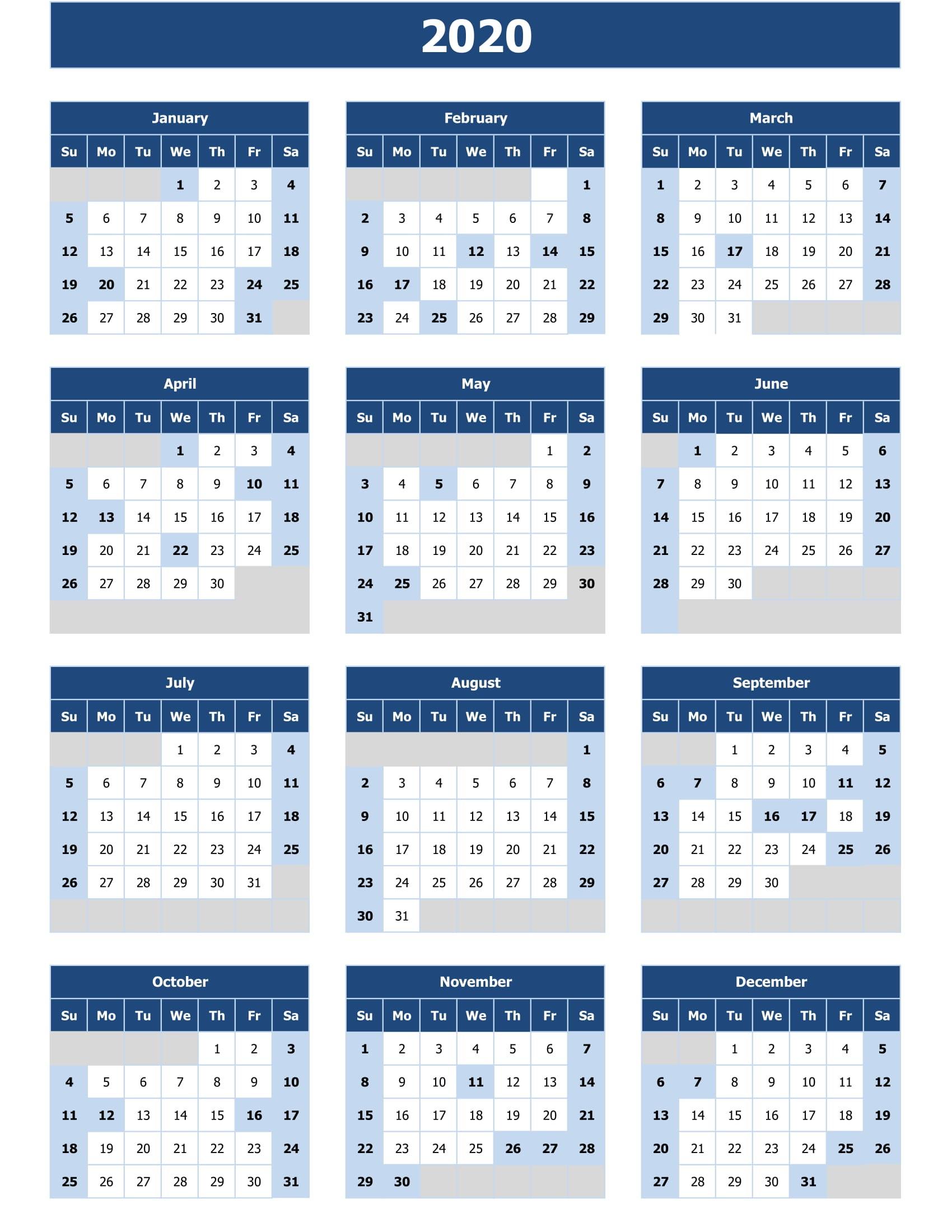 2020 Calendar Excel For Your Good Day For Desk | Calendar with regard to 2020 Excel Calendar