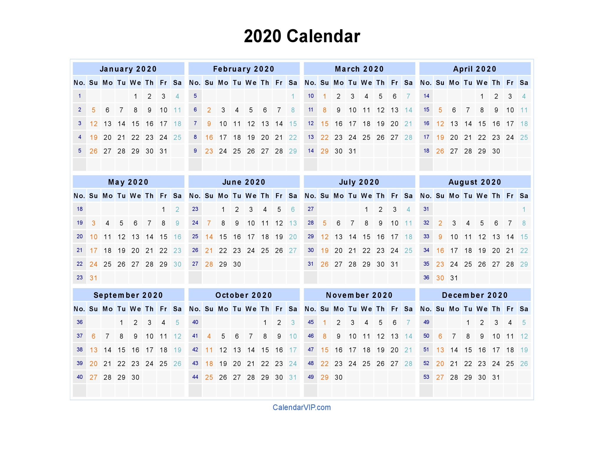 2020 Calendar Excel – Printable Year Calendar within 2020 Excel Calendar